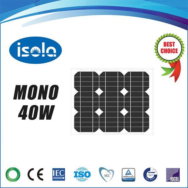 پنل خورشیدی 40 وات OSDA ISOLA مونو کریستال مدل YH40W-18-M